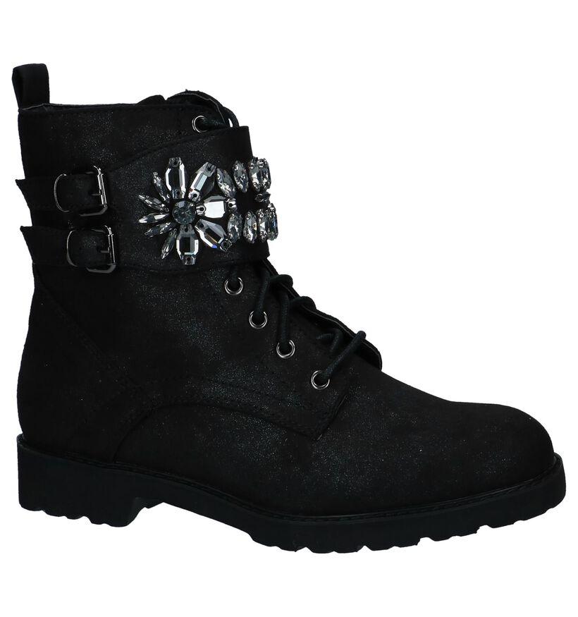 Zwarte Boots met Rits/Veter Youh! by Torfs in stof (230436)