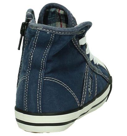 Mustang Witte Rits/Veter Sneakers, Blauw, pdp