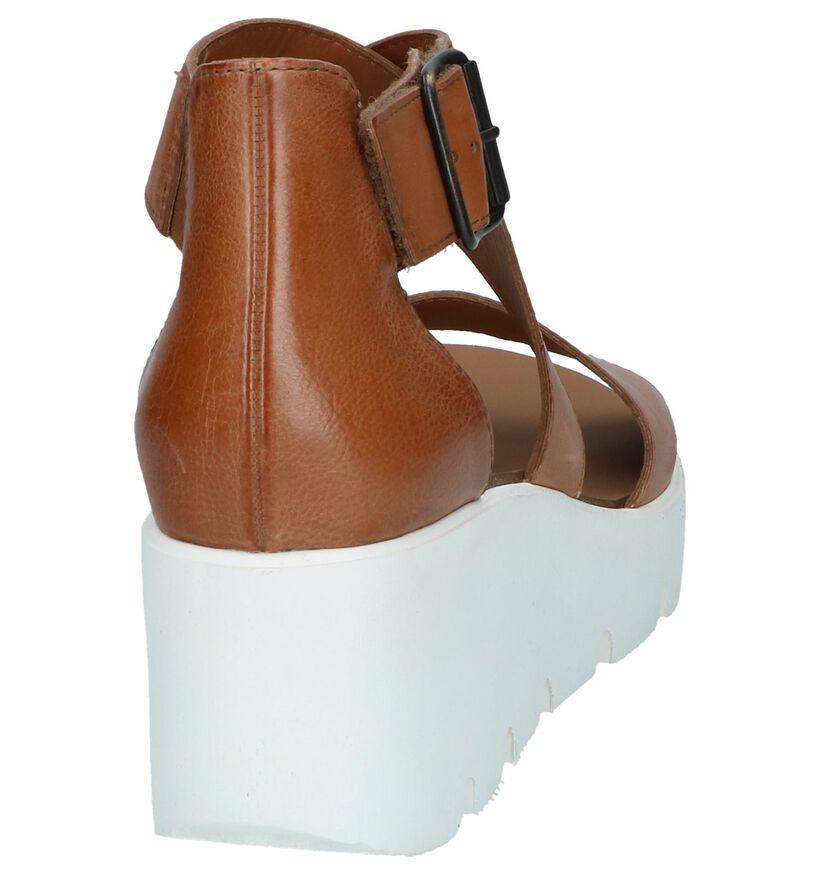 Cognac Sandalen met Sleehak Paul Green in leer (247456)