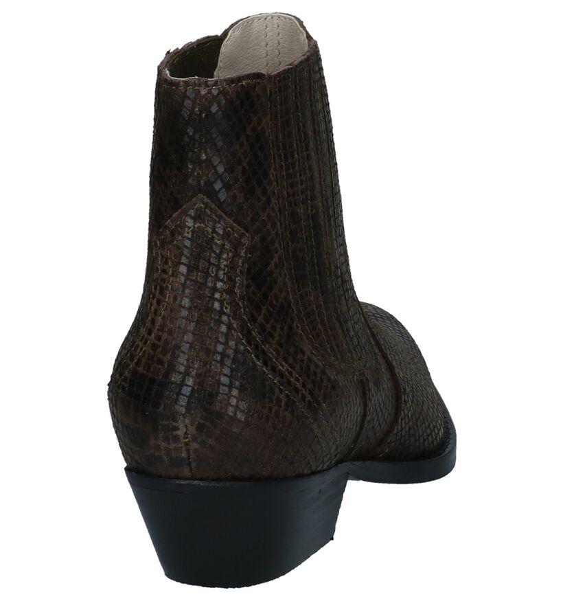 Bullboxer Kaki Western Boots met Slangenprint in nubuck (248686)
