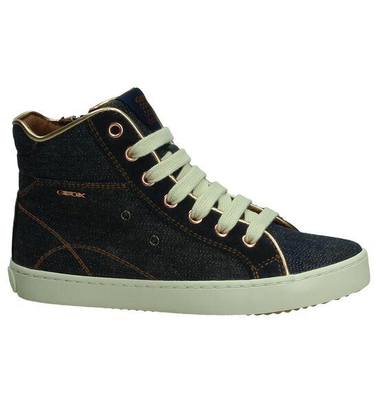 Blauwe Geox Hoge Sneakers Jeans