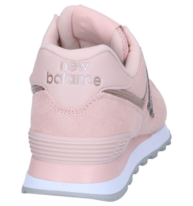 New Balance WL 574 Blauwe Sneakers in nubuck (267018)
