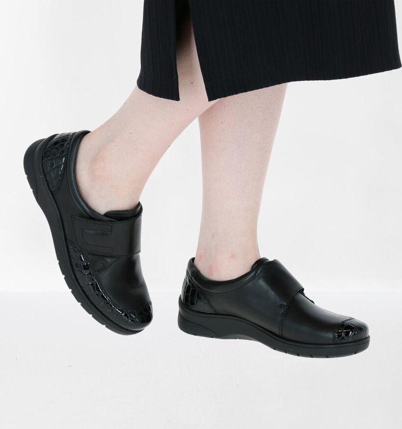 Ara Meran Zwarte Schoenen met Klittenband in leer (260848)