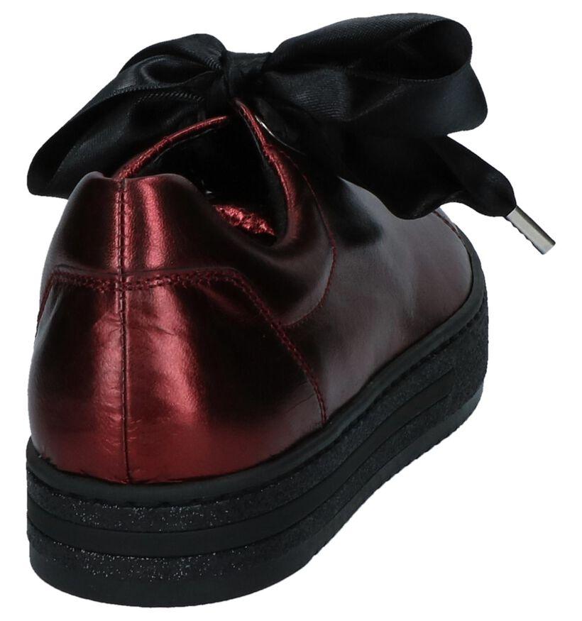 Bordeaux Metallic Gabor OptiFit Geklede Sneakers in leer (233936)
