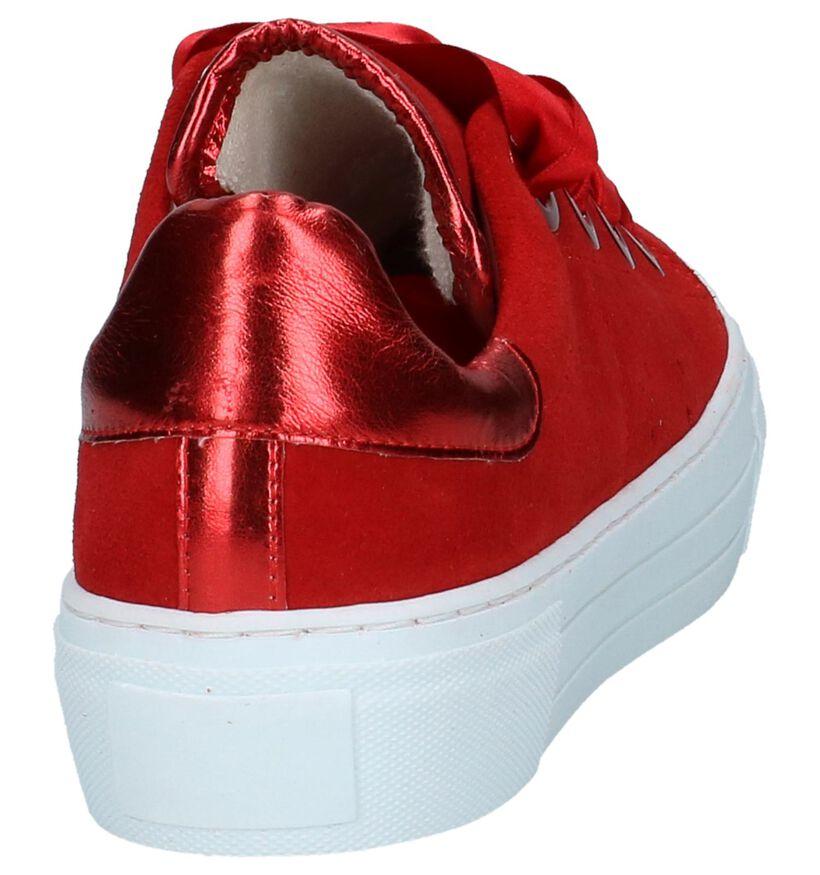 Rode Tango Katja Sneakers met Plateauzool in daim (235721)