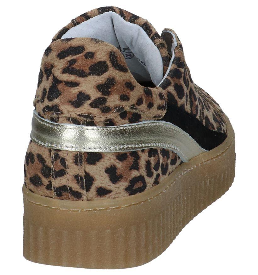 Bruine Shoecolate Sneakers met Luipaardprint in leer (247564)