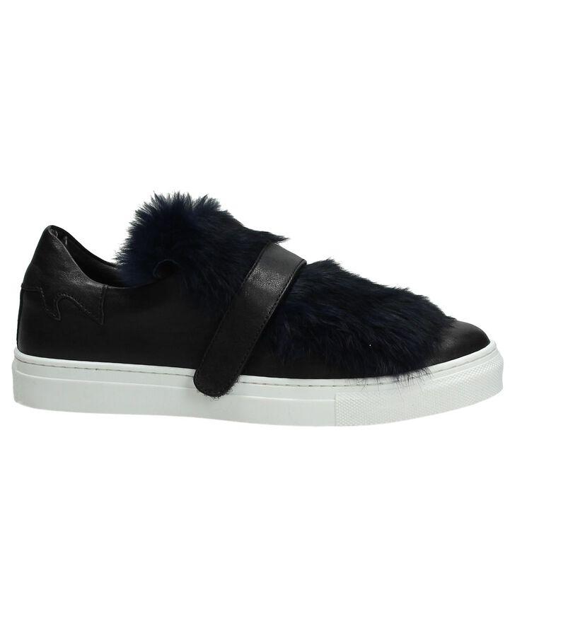 Gio+ Zwarte Sneakers met Donkerblauwe Imitatiebont in leer (195973)
