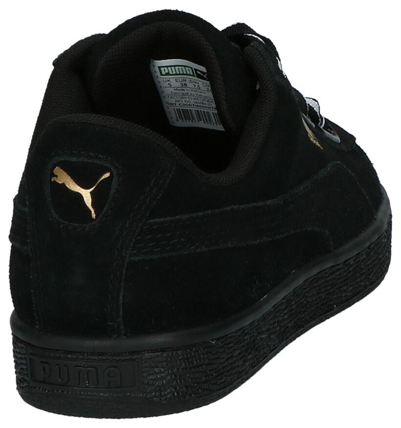 Zwarte Lage Sneakers Puma Suede Heart in stof (199470)