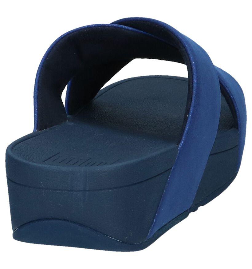Donkerblauwe Slippers FitFlop Lulu Shimmer Slide in kunstleer (240146)