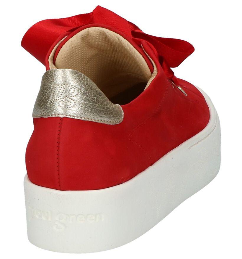 Lage Sneakers met Plateau Rood Paul Green in nubuck (219266)