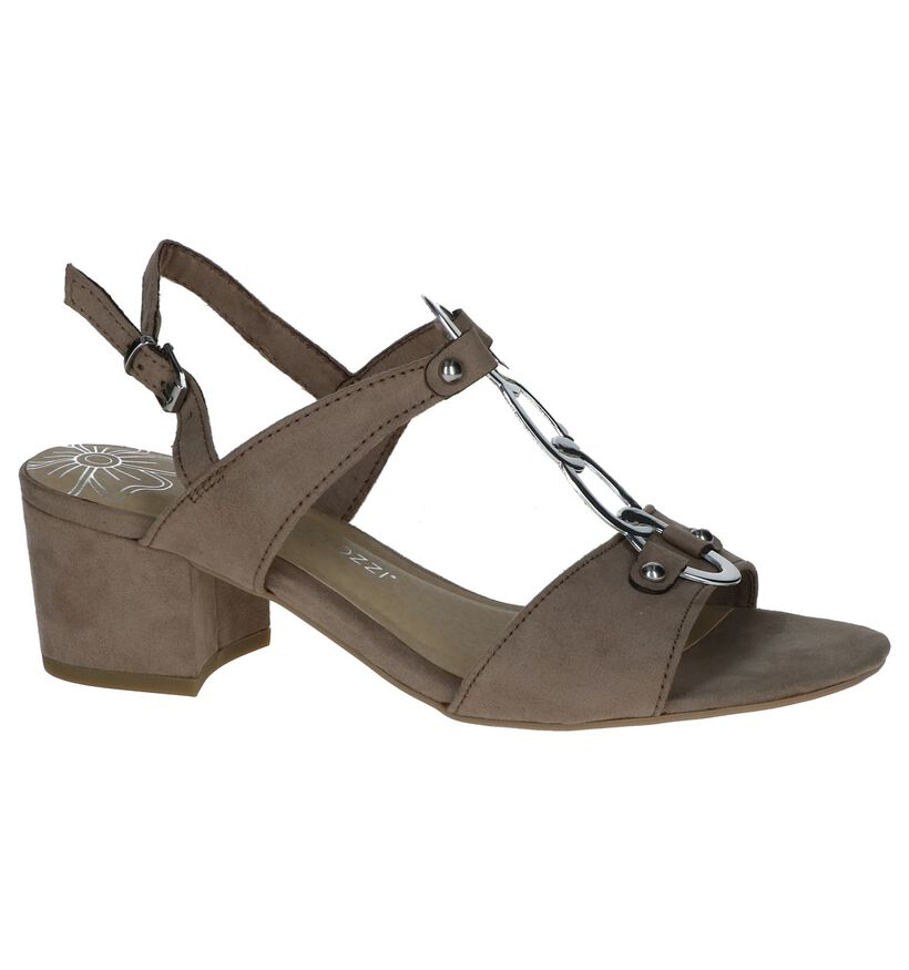 Taupe Sandalen Marco Tozzi in stof (243022)