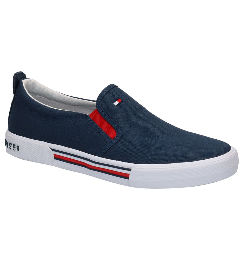 Tommy Hilfiger Blauwe Instappers in stof (266598)