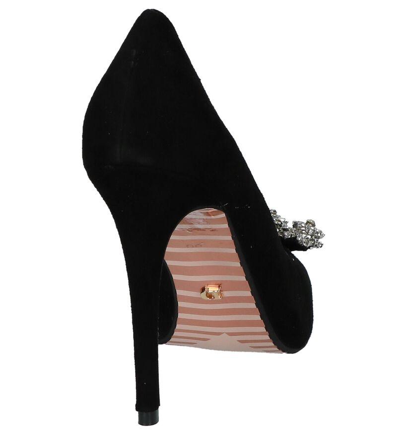 Zwarte Pumps High Heels met Steentjes Dune Breanne in nubuck (217446)