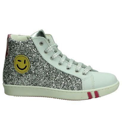 M Kids Zilveren Sneakers Hoog met Glitters, Zilver, pdp