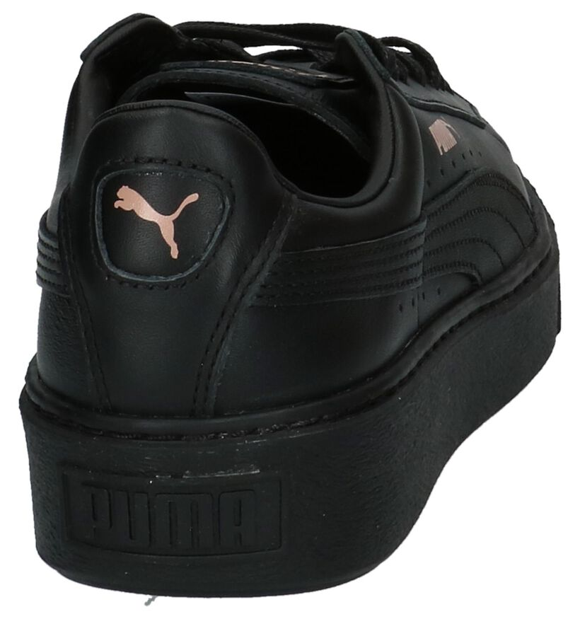 Zwarte Puma Basket Platform Lage Sportieve Sneakers in leer (207272)