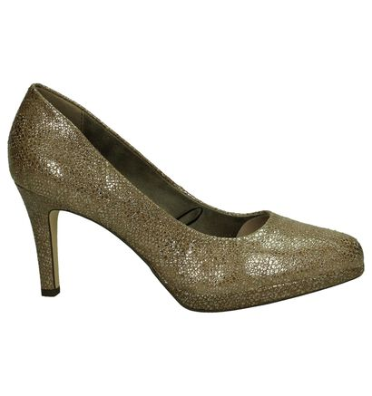 Taupe Metallic Tamaris Pumps met Slangenprint in daim (184094)