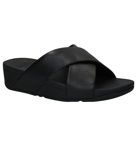 FitFlop Lulu Cross Slide Zwarte Slippers