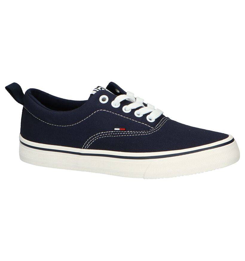 Donkerblauwe Sneakers Tommy Hilfiger in stof (241770)