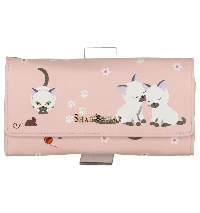 Roze Clutch Tasje Shagwear Playfull Kittens in kunstleer (232852)