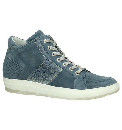 Sneakers Sleehak Khrio Blauw in daim (190054)