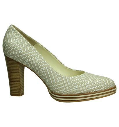 Zinda Licht Beige High Heels Pumps met Plateau in leer (194526)
