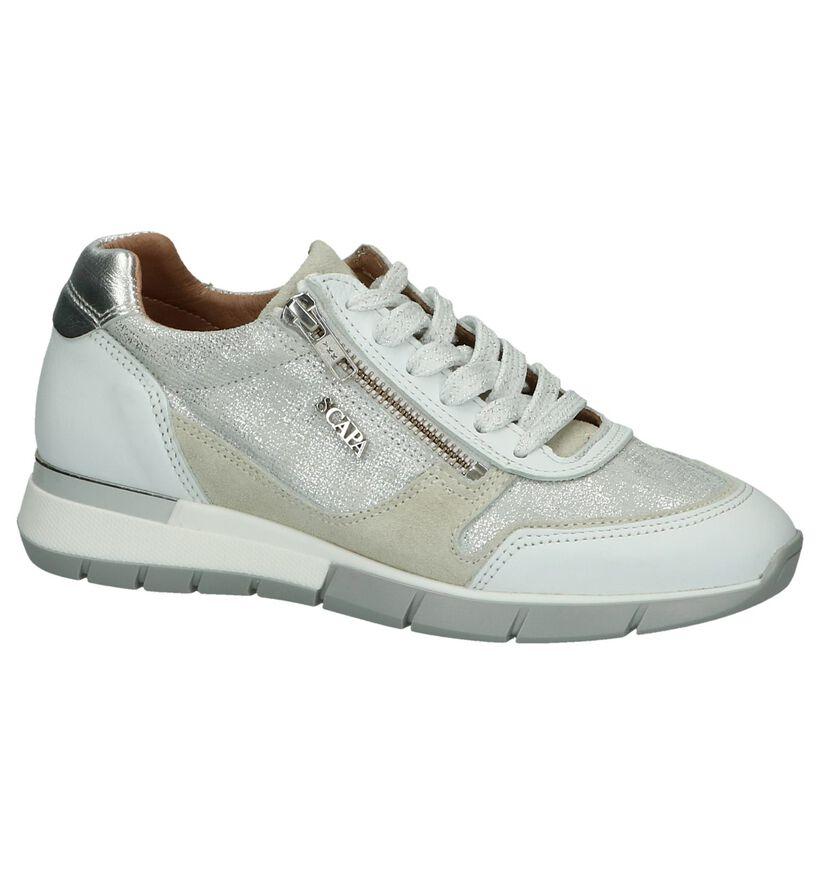 Witte Schoen met Rits en Veter Scapa in leer (246116)