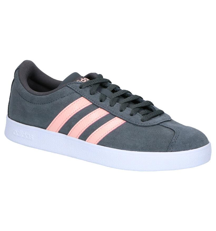 adidas VL Court 2.0 Zwarte Sneakers in kunstleer (273829)