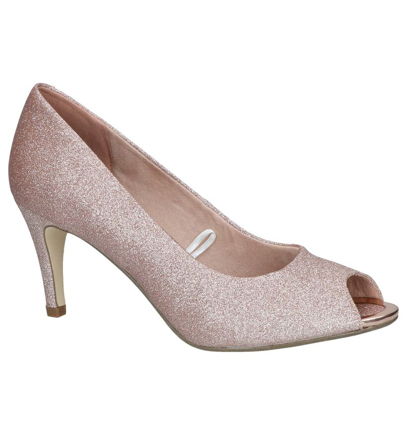 Rose Gold Peeptoe Pumps Tamaris in stof (244243)