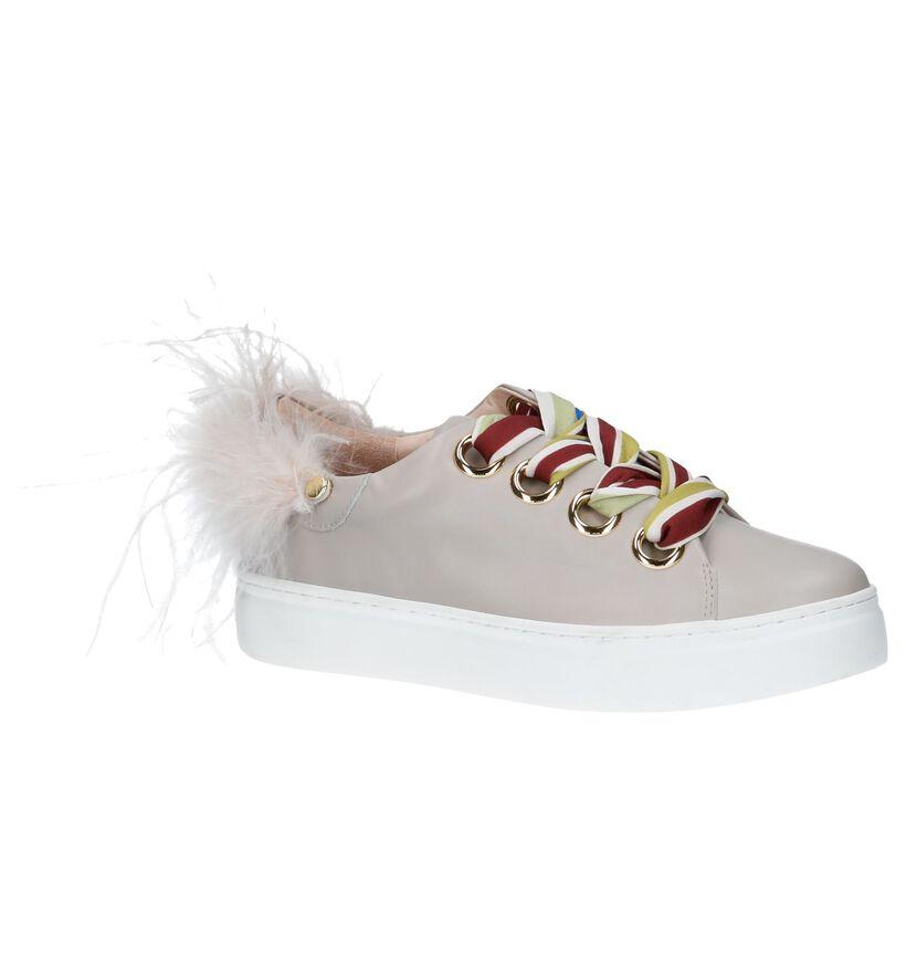 Taupe Sneakers met Pluimen Movie's by F+ in leer (218673)