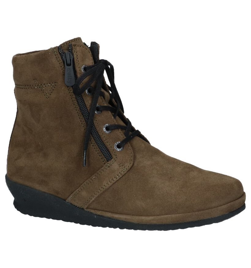 Kaki Boots met Sleehak Wolky Bakersfield in daim (231813)