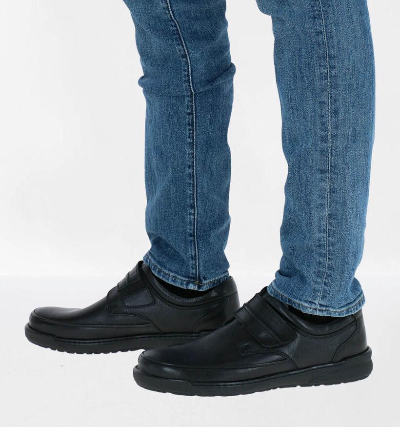 Ara Morits Zwarte Klittenbandschoenen in leer (282684)