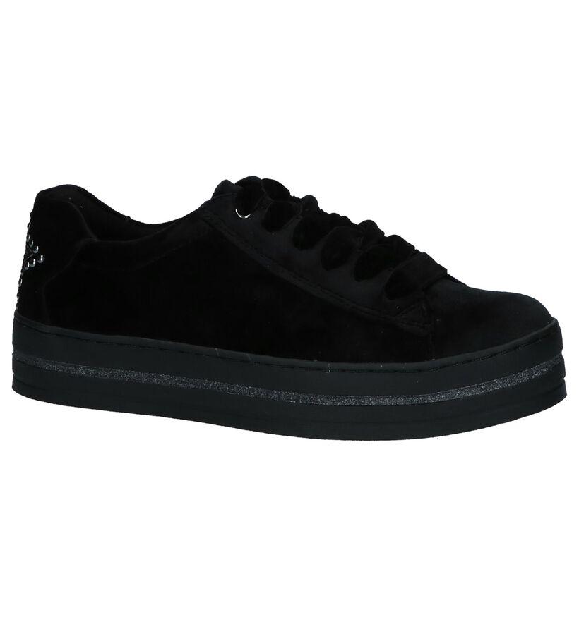 Marco Tozzi Fluweel Zwarte Sneakers in fluweel (226334)