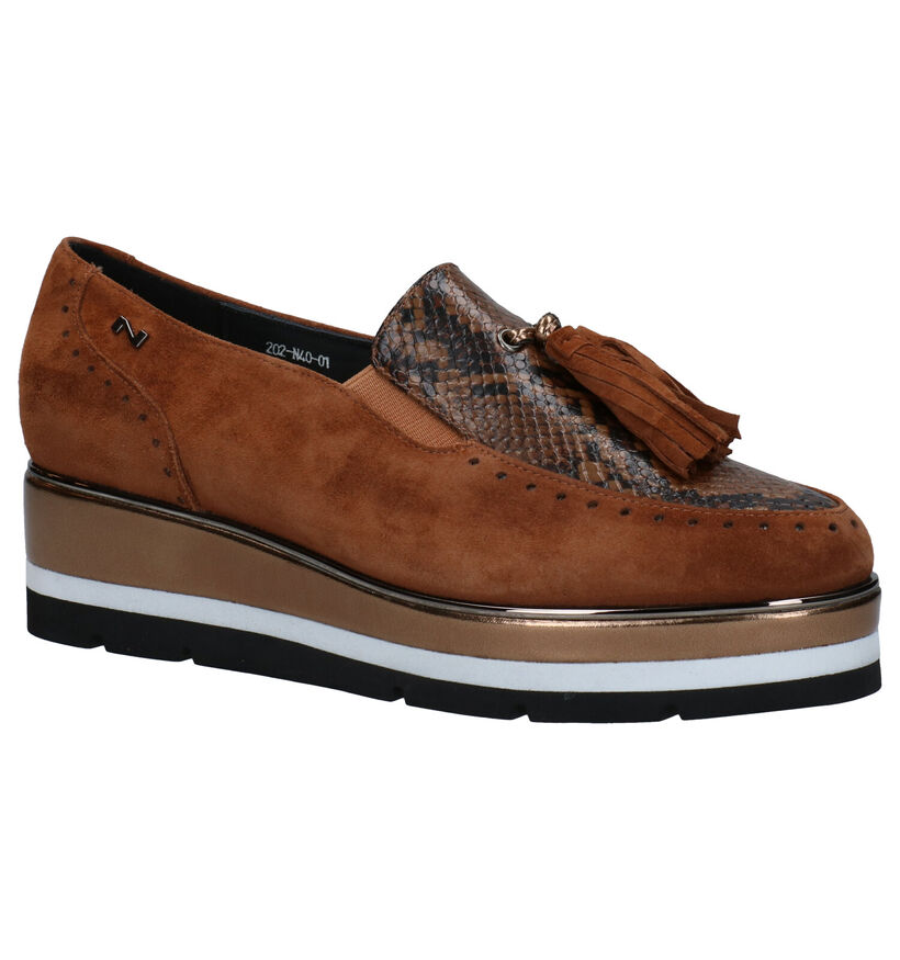 Nathan-Baume Cognac Instappers in nubuck (283259)