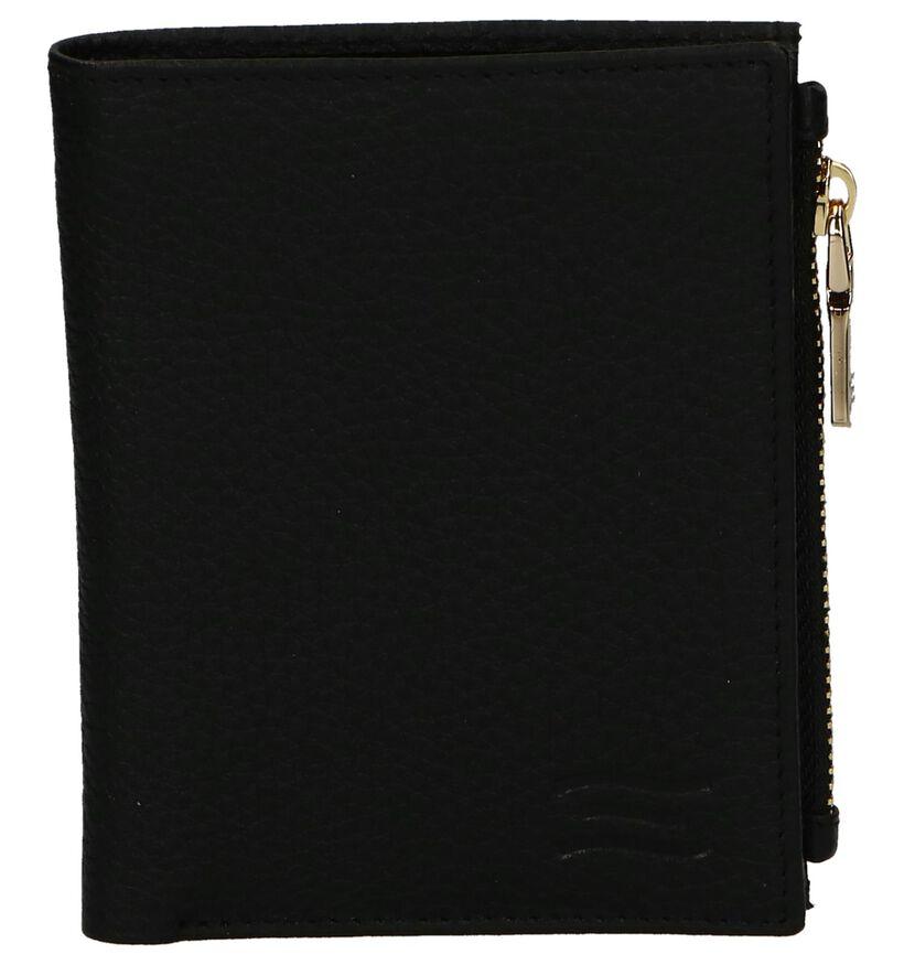 Zwarte Overslagportemonnee Crinkles in leer (250617)