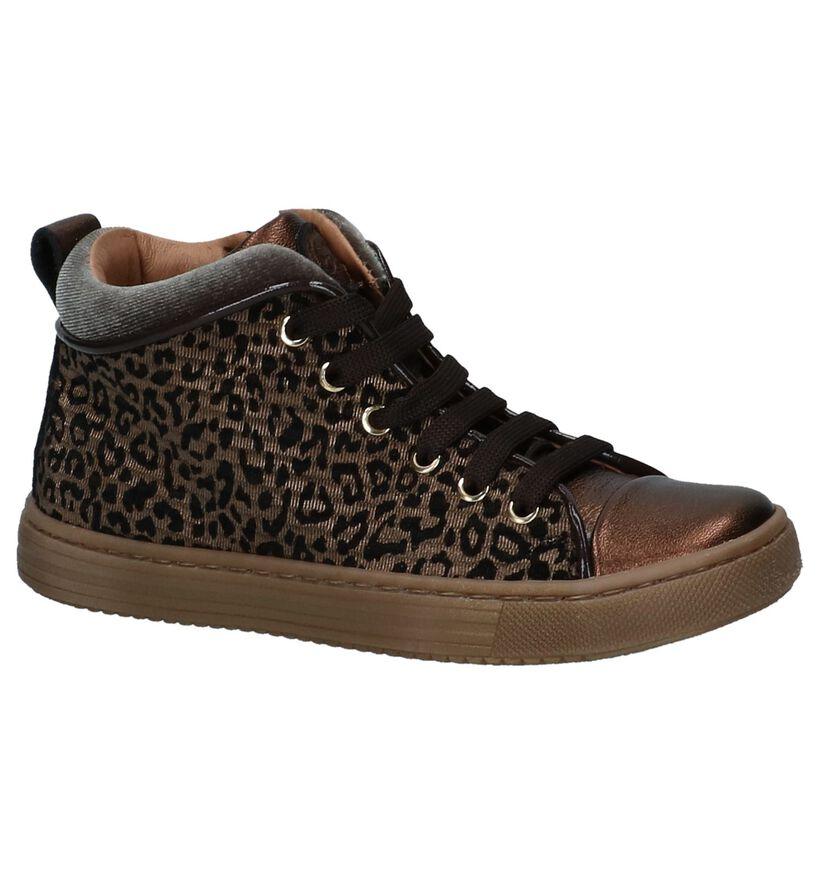 Bronzen Lage Geklede Sneakers met Luipaardprint Romagnoli in leer (230211)