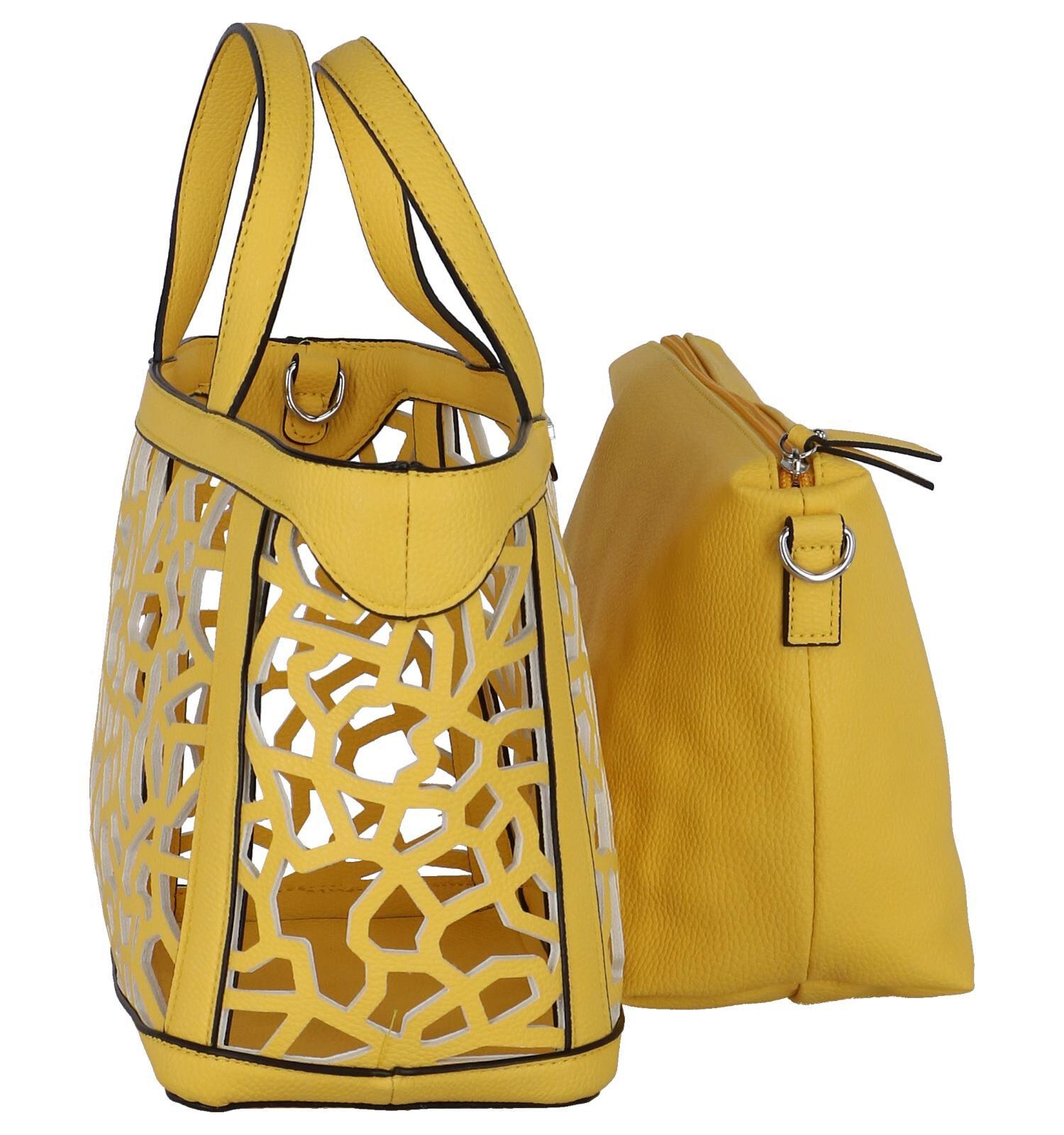 Gele Bag in Bag Handtas Emily & Noah