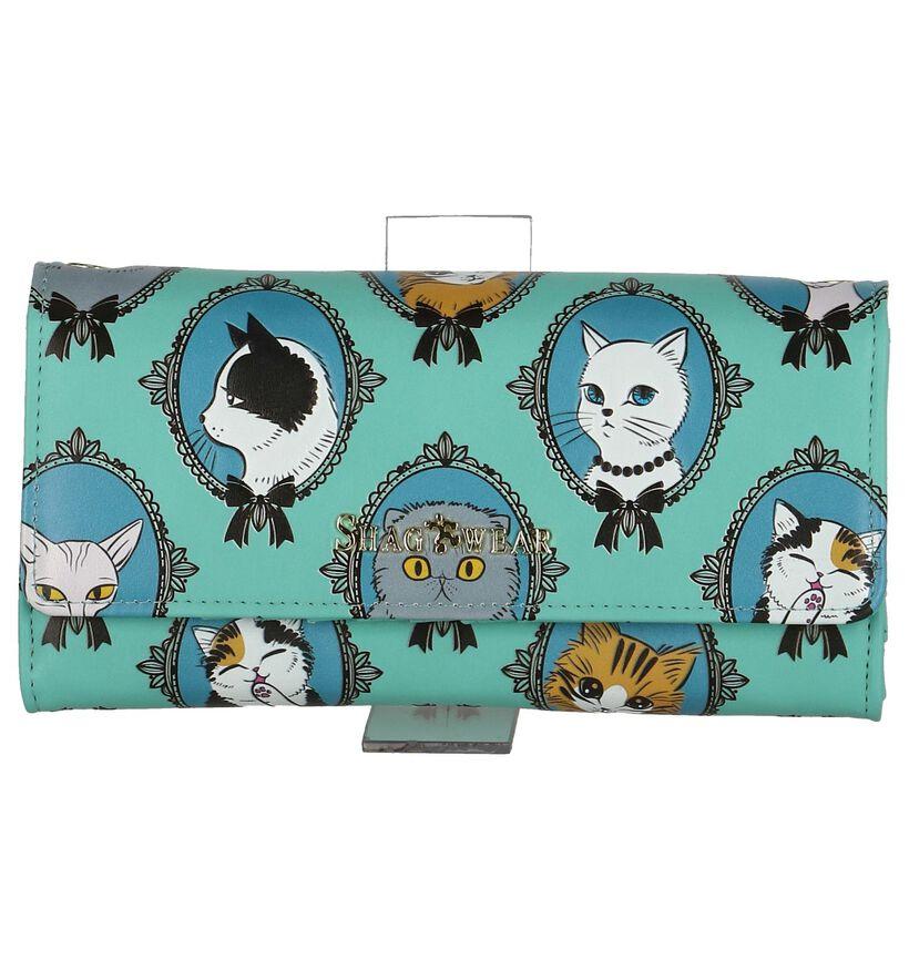 Turquoise Shagwear Cat Cameo Clutch Tasje in kunstleer (232854)