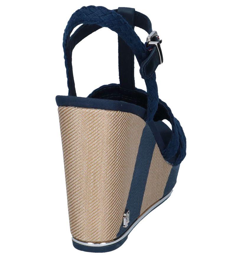 Blauwe Sandalen Tommy Hilfiger Printed Wedge Sandal in stof (241809)