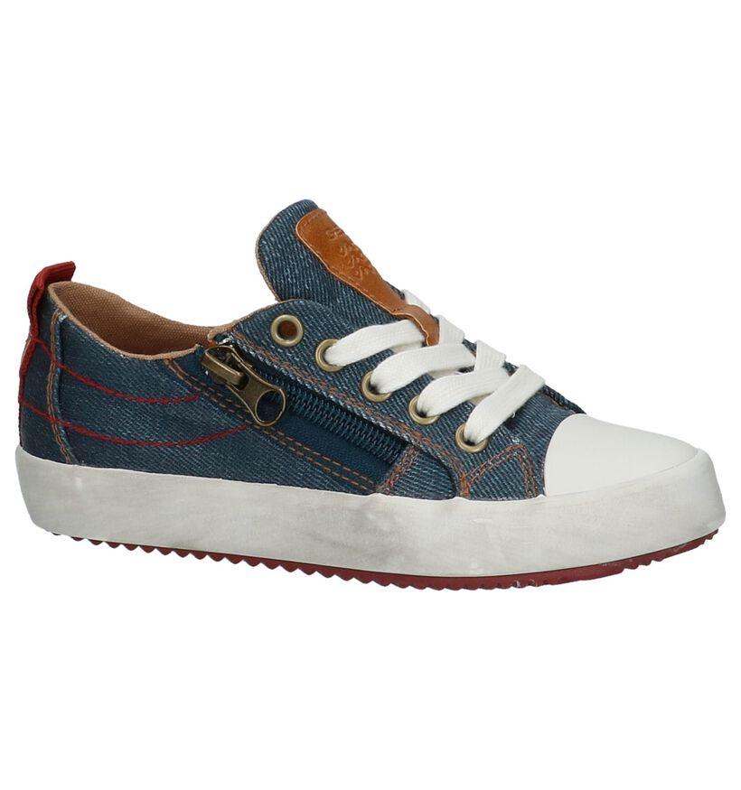 Blauwe Lage Geklede Sneakers Geox in stof (210539)