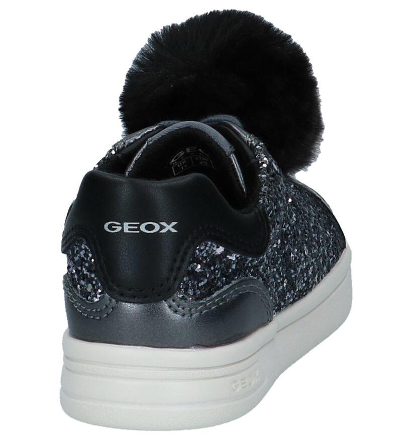 Geox Grijze Metallic Sneakers met Pompons in kunstleer (223140)