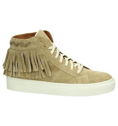 Flair Beige Sneakers met Franjes in daim (178402)