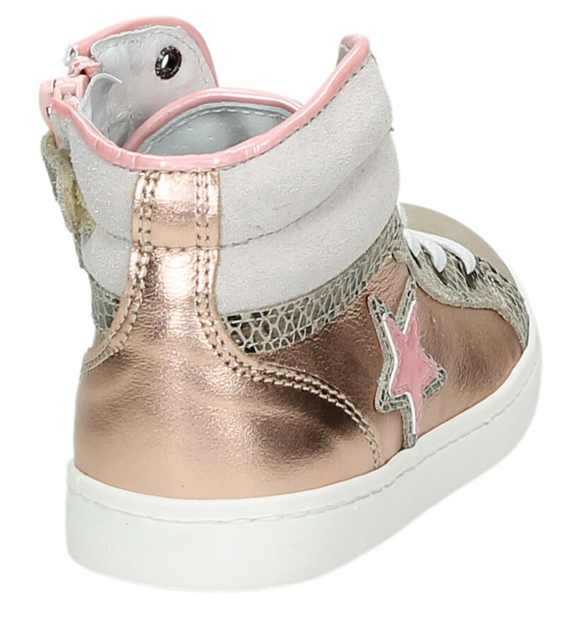 Roze Kanjers Hoge Sneakers in leer (159492)
