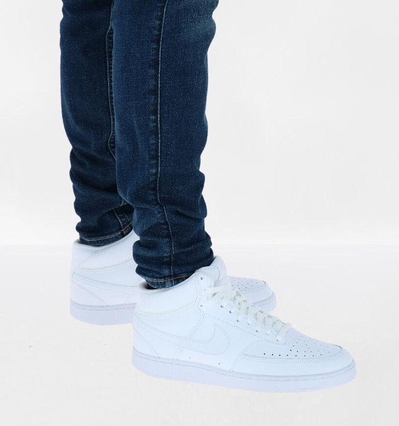 Nike Court Vision Witte Sneakers in kunstleer (283886)