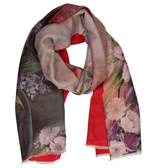 Rode Sjaal met Bloemenprint Pia Rossini Delilah