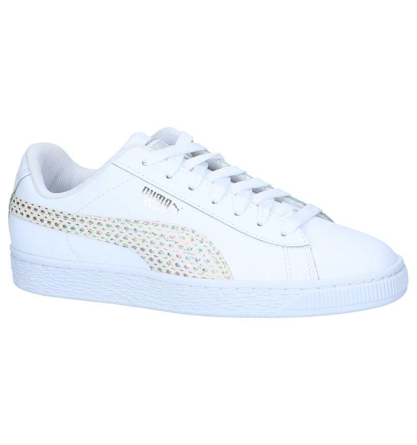 Witte Sneakers Puma Basket Chameleon in leer (239517)