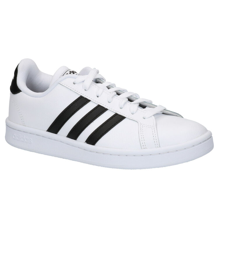 adidas Grand Court Zwarte Sneakers in leer (284802)