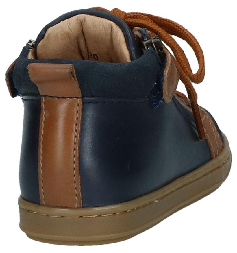 Donker Blauwe Hoge Schoentjes Shoo Pom Bouba Bi Zip in leer (230669)