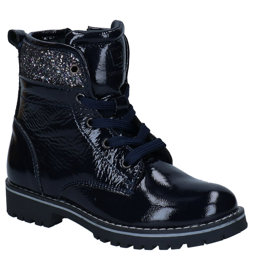 Little David Zafira Blauwe Boots in lakleer (282795)