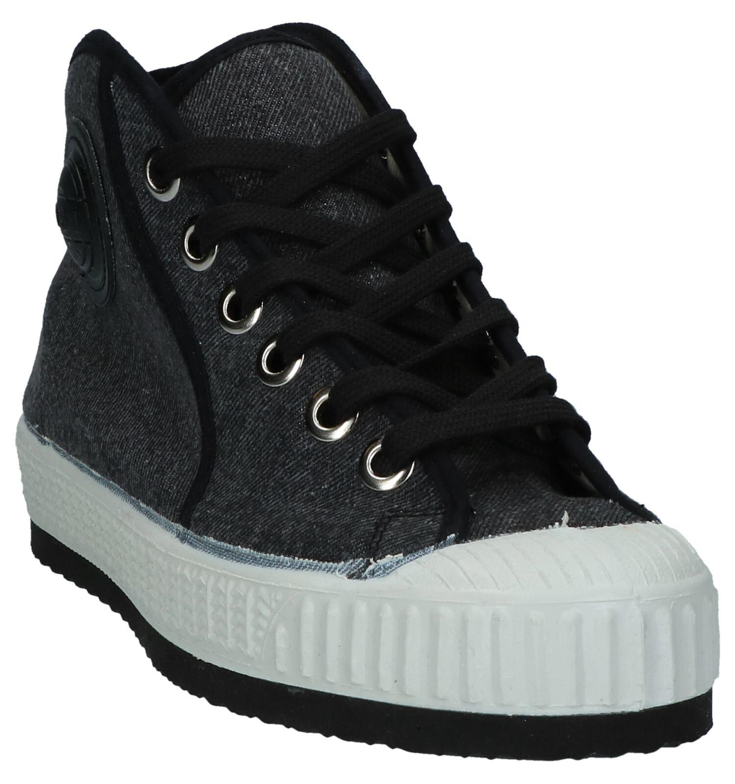 0051 Jeans Donkergrijze Hoge Sneakers