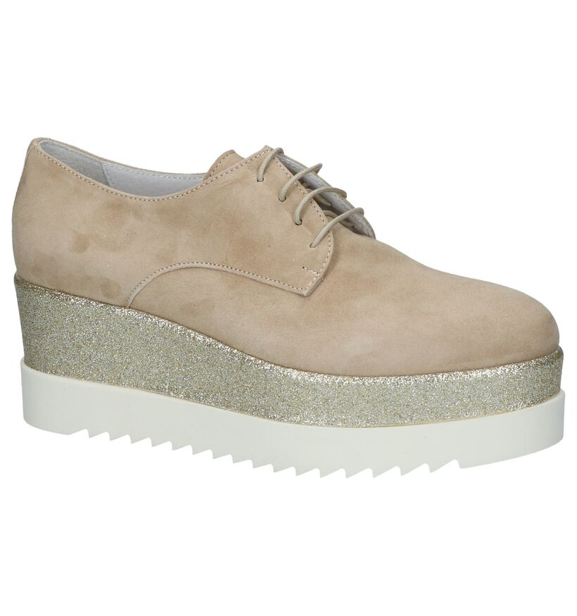 Beige Veterschoenen op Hak Via Limone by Torfs in daim (216150)